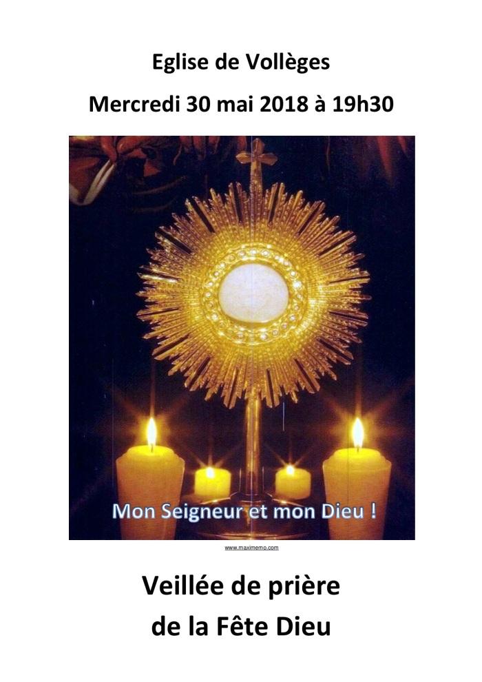 affiche veillée prière fête Dieu 2018